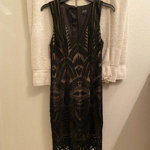 Black & tan mini/midi dress